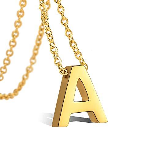 CheersLife Initiale Alphabet A Anhänger Edelstahl Halskette für Damen, vergoldet 18K, Halskette mit Buchstaben in Gold Initiale Kette 45+5CM - Vergoldete Edelstahl Kette