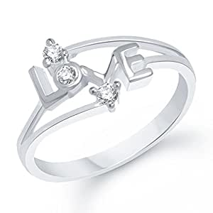 VK Jewels Love Rhodium Plated Ring for girls - FR1172R Size-8 [VKFR1172R8]