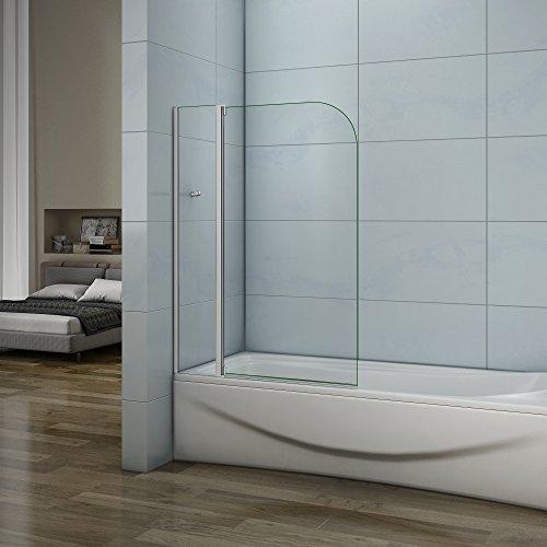 100cm Badewannenaufsatz Duschabtrennung 4mm Sicherheitsglas Duschwand für Badewanne höhe 140cm