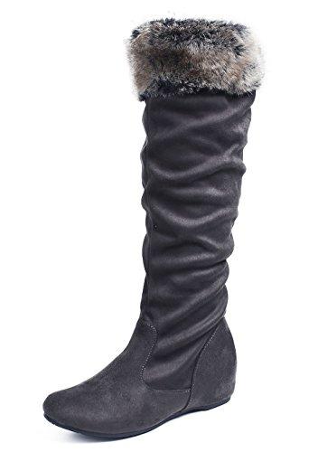AgeeMi Shoes Damen Runde Flache Halbschaft Stiefel Schneestiefel Winter Schuhe,EuX43 Grau 40