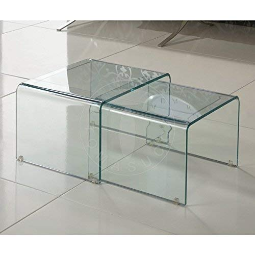 Wink design,.Jackson, set 2 tavolini in vetro curvato