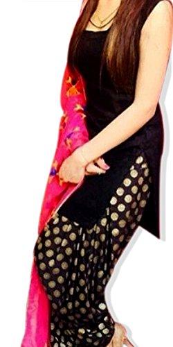Nivetas Design Studio Women\'s Crape Patialas Dress Material (Gb1254_Black_Free Size)