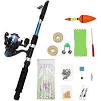 Junior Beginners Fishing Tackle Set Kit with Rods Reels, Alarm Bell, Hook, Float, Stoppers, Swivels, Lures, Beads and Line