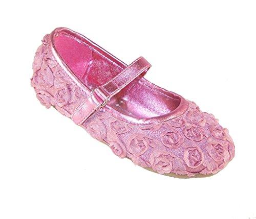 Mädchen Rosa Satin und Blume Ballerina Gelegenheit Schuhe, Rose - 6 UK (Mädchen Shos)