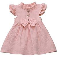 Vestidos de niña de Fiesta | Ropa de Vestir Informal de Princesa con Volantes de Lino con Lazo sólido para bebés y niños pequeños 12 Meses - 5 años