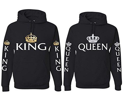 *King Queen Pullover Pärchen Set Hoodie mit Kapuze Sweatshirt Partner Look Pärchenpullover JWBBU®*
