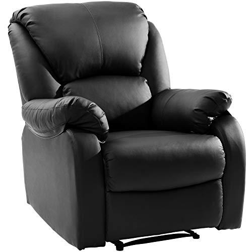 Modern Luxe Fernsehsessel Relaxsessel Leder Sofa Tilt Sofa Push Back Sessel für Home Lounge Gaming Cinema High-Back (Schwarz)