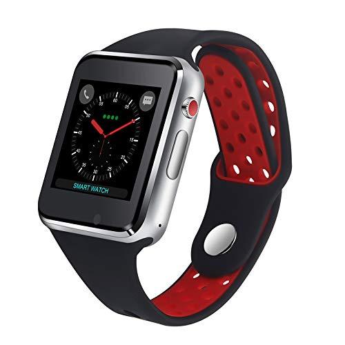 ZLOPV Intelligente Uhr Smart Watch Phone 1,54 Zoll großen Bildschirm mit Kamera Facebook Whatsapp Twitter Sync Notifier Unterstützung SIM-Karte, rot -