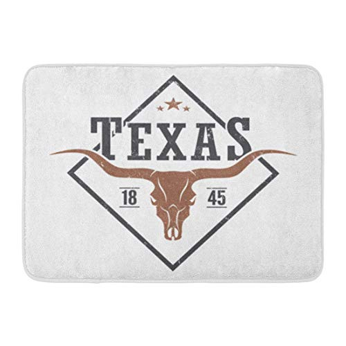 Bad Teppiche Outdoor/Indoor Fußmatte Star Texas State Tee Longhorn Schädel Grafiken Stempel Label Bull westlichen Badezimmer Dekor Teppich Badematte ()