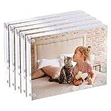Cadre photo acrylique de qualité supérieure 10x15cm - Cadre photo magnétique - Cadres de bureau épais et latéraux épais (5 pièces)