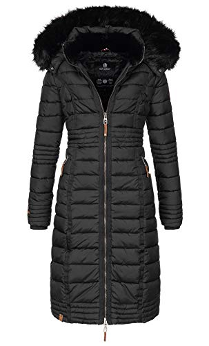 Navahoo Damen Wintermantel Mantel Steppmantel Winter Jacke lang Stepp warm Teddyfell B670 [B670-Uma-Schwarz-Gr.L]