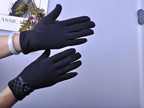 Laine Arc Mignon Gants Chauds Automne Et L'hiver OGERT Des Femmes Black