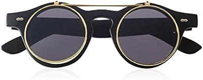 Mate Negro NUEVO fangbanger Steampunk gafas gafas Retro Flip Up gafas de sol Vintage redondo marrón