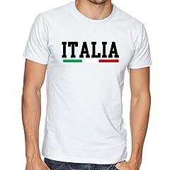 Idea Regalo - WIXSOO Shirt Uomo Italia Bianca Tricolore Sport Calcio Rugby Volley Basket Maglia Maglietta (XXL)