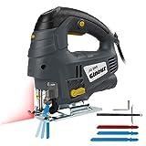 Ginour Stichsäge 800W 3000 RPM Elektrische Stichsäge mit 7 variabler Geschwindigkeit, Laserführung, 3 Klingen, Doppelseitenschnitt (0 °- 45°), Vakuumrohr Perfektes Holzbearbeitungswerkzeug