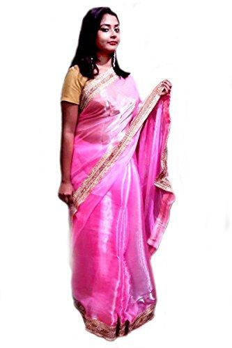 Kautuki Fashions Women's Tissue Saree (SAPAc-c1_Pink_FreeSize)