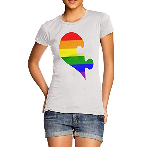 Twisted Envy Women's Cotton Gay Pride Rainbow Puzzle Heart Graphic T-Shirt