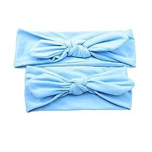 Frcolor Mama und ich Stirnband Baby Mädchen Headwrap Knot Hairband Haar Bogen Set (blau)