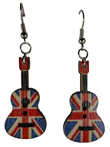 Ohrringe Ohrhänger Hänger Gitarre England Flagge Union Jack Musik Konzert Rock Country Holz 9134 (Gitarre Flagge)