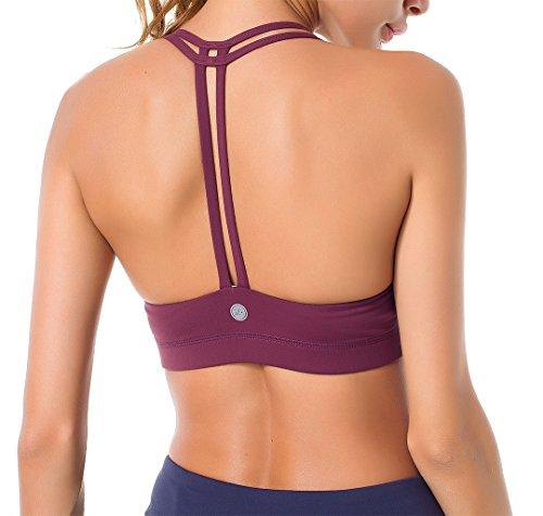 Queenie ke donna reggiseno sportivo yoga spalline incrociate imbottite rimovibili t-back size xl color rosso