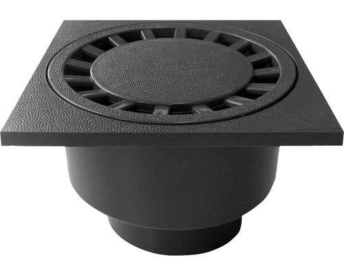RUG Self Haus- und Hofablauf 200x200mm befahrbar mit senkr. Ablauf Schwarz DN 75/110 316976
