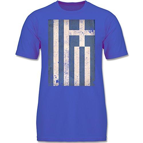 Städte & Länder Kind - Griechenland Flagge Vintage - 116 (5-6 Jahre) - Royalblau - F140K - Jungen T-Shirt