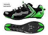 Deko Sports, scarpe bici da strada, modello Race, colore nero/verde fluorescente, misure varie (45)