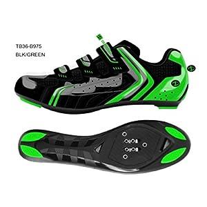 418BFblTSyL. SS300 Deko Sports, Scarpe Bici da Strada, Modello Race, Colore Nero/Verde Fluorescente, Misure Varie (41)