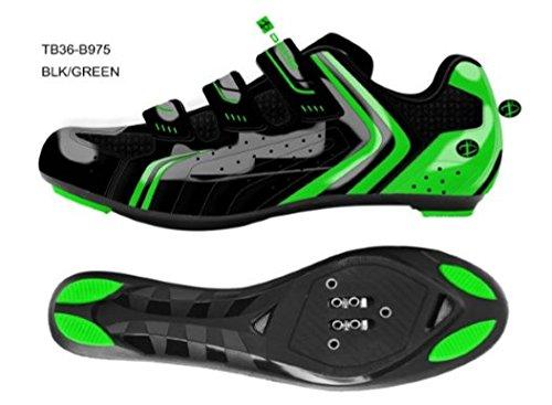 Deko Sports, scarpe bici da strada, modello Race, colore nero/verde fluorescente, misure varie (41)