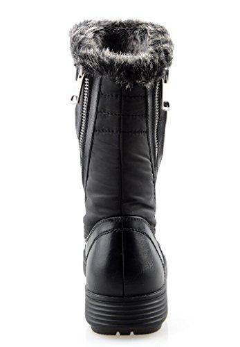 Eyekepper Frauen Comfort Round Toe Mitte Kalb Flache Ankle Hohe Winter-Vollpelzfutter Reißverschluss Stacked-Schnee-Aufladungen Schwarz