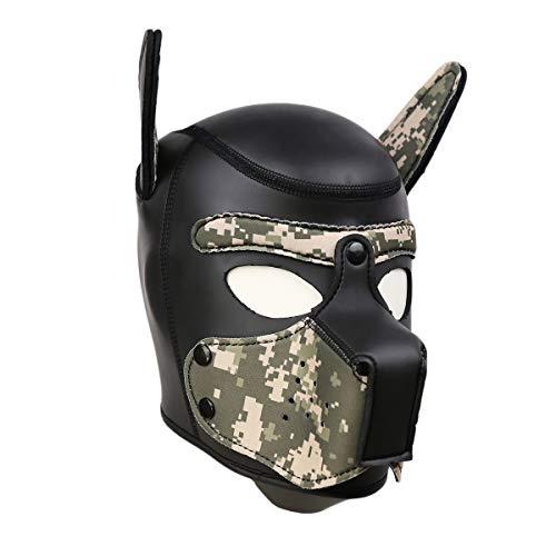 Lovearn Gepolsterte Welpenhaube aus Latex benutzerdefinierte Tier Kopf Maske Neuheit Kostüm Hund Kopf Masken Cosplay voller Kopf mit Ohren 10 Farbe (Tarnung) (Cosplay Für Hunde)