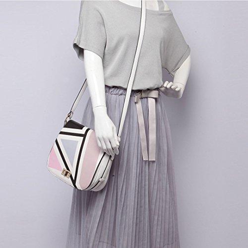 Miss LuLu Damen Tasche PU Leder Schultertasche Handtasche Cross Body lässiger Stil (LT1663-Blau) LT1663-Pink