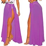 HITSAN INCORPORATION Aleumdr Summer Women Cover Up Long Sheer Wrap Beach Tie-up Skirt Slit High Waist Bikini Cover-up LC42275 Robe De Plage Color Lavender Size One Size