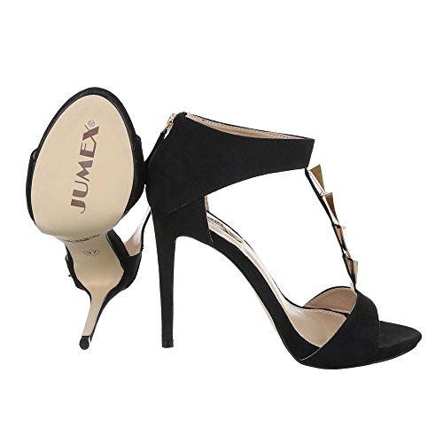 High Heel Sandaletten Damenschuhe Plateau Pfennig-/Stilettoabsatz High Heels Reißverschluss Ital-Design Sandalen / Sandaletten Schwarz