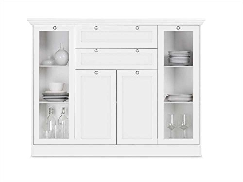 Highboard in weiß, 2 Vitrinentüren, 2 Schubkästen, 2 Türen, 4 schmale und 2 breite Einlegeböden, Maße: B/H/T ca. 160/120/40 cm