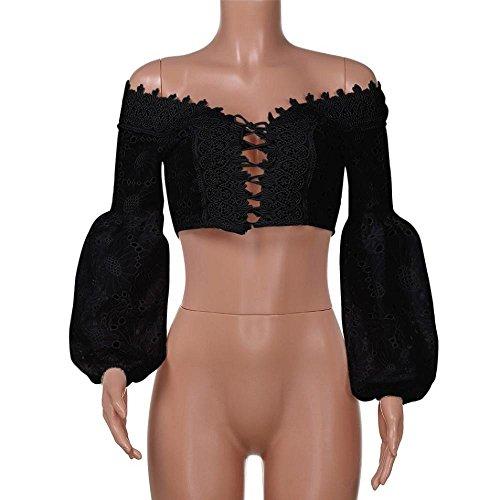 Rameng Sexy Femmes Chic Epaule Top Manche Longue Bandage Évider Court Chemise Shirt Noir