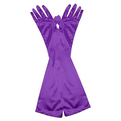 guanti lunghi raso Sconosciuto Lunga Guanti in Sera Raso da Donna Lunghezza Fino al Gomito per Vestito Feste - Purpura