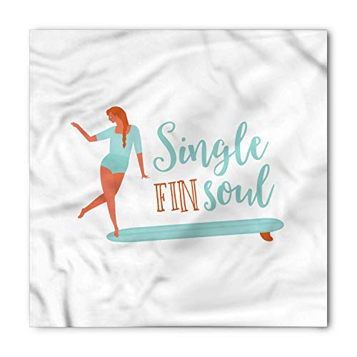 Girl and Single Fin Longboard, Unisex Head and Neck Tie M100*100CM ()