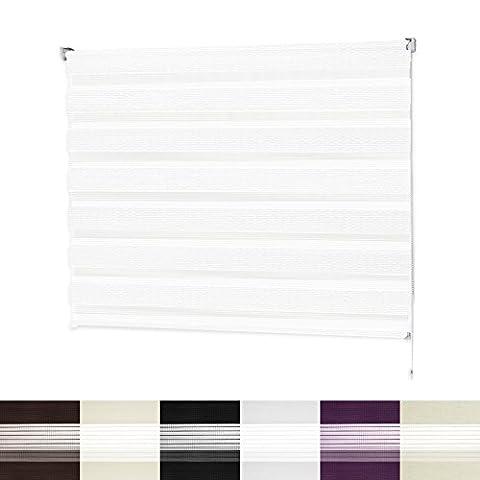 Store enrouleur jour nuit | VarioLight: Occultant ou Tamisant | Rideaux stores sans perçage | 6 coloris et 8 largeurs au choix| Blanc, 80x150cm