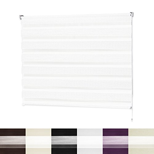 Store enrouleur jour nuit | VarioLight: Occultant ou Tamisant | Rideaux stores sans perçage | 6 coloris et 8 largeurs au choix| Blanc, 120x150cm