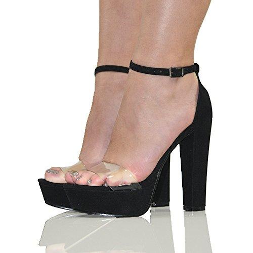 ESSEX GLAM Damen Kunstleder Knöchelriemen Schnalle Plexiglas Plateau Hoher Absatz Peep Toe Schuhe BLACK FAUX SUEDE