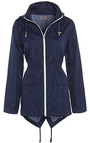 SS7 Femmes Parka Veste de pluie, Taille 46 pour 24 Bleu Marine Blanche