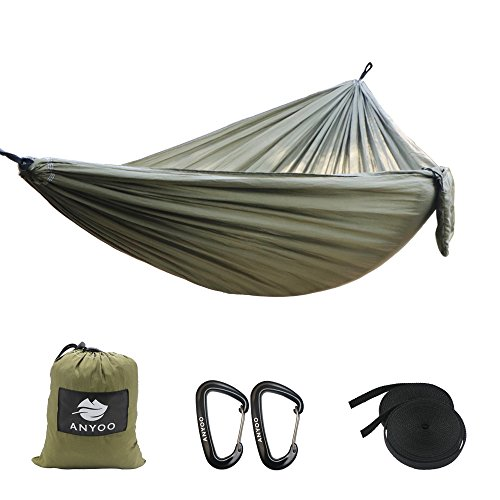anyoo double camping hammock 3 x 2m nylon parachute fabric 2 x aluminum carabiners 2 x nylon straps included lightweight portable for hiking backpacking travelling