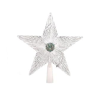Auto Consejos Árbol de Navidad de pico de cinco spitzes Estrella LED decorativa luces Navidad Decorativa luces intermitentes de la farbled