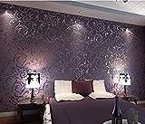 HANMERO Europa reg;Wandwelt Mustertapete Umweltschutz Europa Bersilbern Sofa Fernseher Hintergrund Nahtlos 3D Style Geprägt Relief Vliestapete 0,7 * 8,4m 4 Farben für Wohnzimmer Livingroom (Lila)