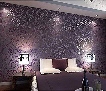 HANMERO- Carta da parati damascata vintage 3d per soggiorno, sfondo TV, camera da letto, Non tessuto, Viola--0,7m*8,4m