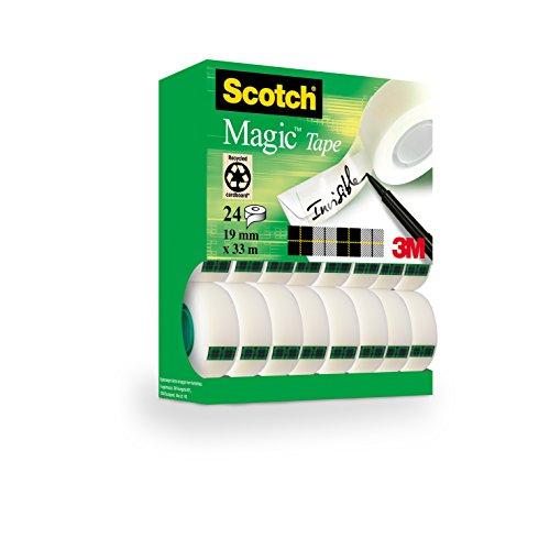 Scotch Magic Type, Nastro Adesivo 3M Trasparente Inscrivibile, Finitura Opaca, Invisibile su Carta, 19 x 33 mm, Tradizionale, 24 Pezzi