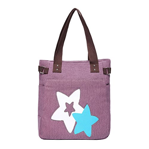 VRIKOO Womens Fashion Casual Canvas Handbag Portable Shopping Tote Shoulder Bags Viola