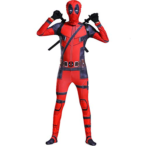YIWANGO Deadpool Cosplay Kostüm Halloween Maskerade Superheld Kostüm Adult Kind Siamese Strumpfhosen Party Movie Anime Kostüm Held,Red-150cm