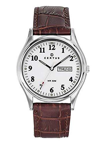 Certus–Reloj Hombre–h610m483–Piel marrón–Reloj Color Blanco–Fechador